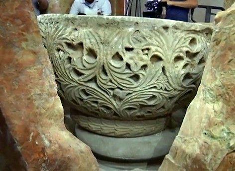 #Belén - Fuente bautismal descubierta durante los trabajos de restauración en la Basílica de la Natividad 3