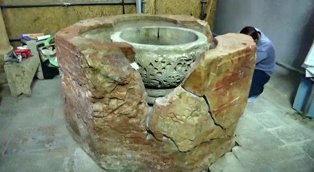 #Belén - Fuente bautismal descubierta durante los trabajos de restauración en la Basílica de la Natividad 2